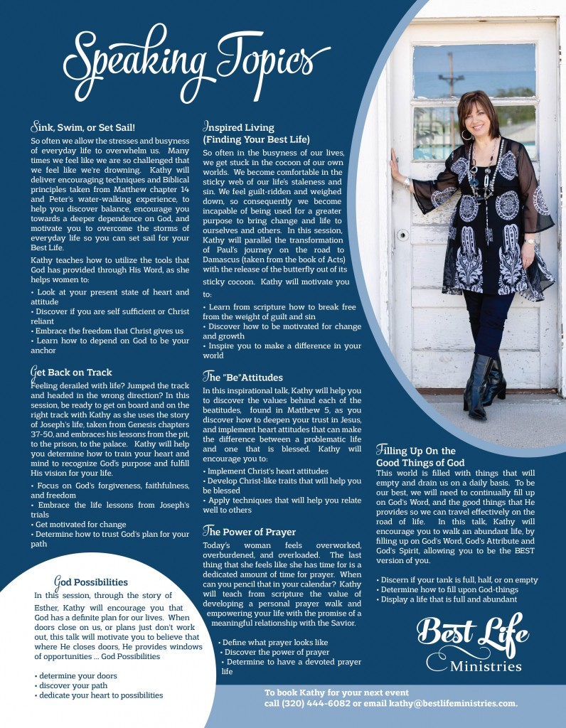 View Kathy Weckwerth's Speaking Topics